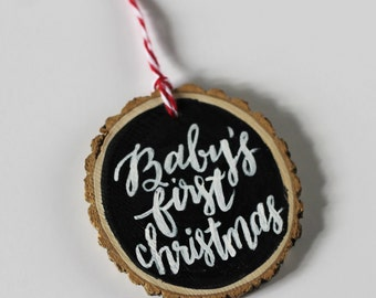 Custom Baby's First Christmas Ornament, Baby's first christmas, hand lettered christmas tree ornament