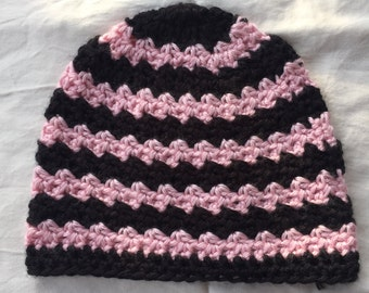 Crochet Pink and Black Striped Beanie