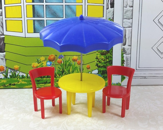 MARX PATIO SET Table Umbrella Rod Two Chairs Hard