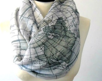 World map infinity scarf, cotton scarf, chunky scarf, cowl scarf, circle scarf, winter scarf, printed scarf, womens scarves, world map scarf