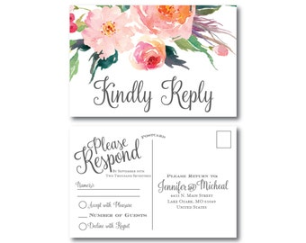 Floral Wedding RSVP Postcard, Country Chic, Watercolor Floral, Floral Wedding, Rustic Wedding, RSVP Postcard, Wedding Postcard, RSVP #CL160