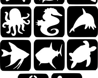 Refill Stencils Only #7 - 11 X Sea Life Glitter Tattoo Stencils Refill Your Glitter Tattoo Kit
