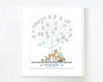 Thumbprint Tree Guestbook - Woodland Baby Shower / Mint-Grey Baby Shower Decor / Gender Neutral / Guestbook Wall Art / Fingerprint Tree