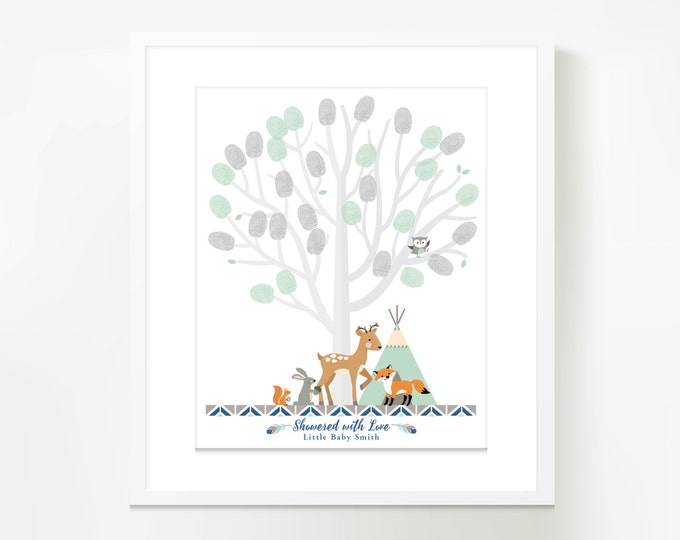 Thumbprint Tree Guestbook - Woodland Baby Shower / Mint-Grey Baby Shower Decor / Gender Neutral / Guestbook Wall Art / Digital Files