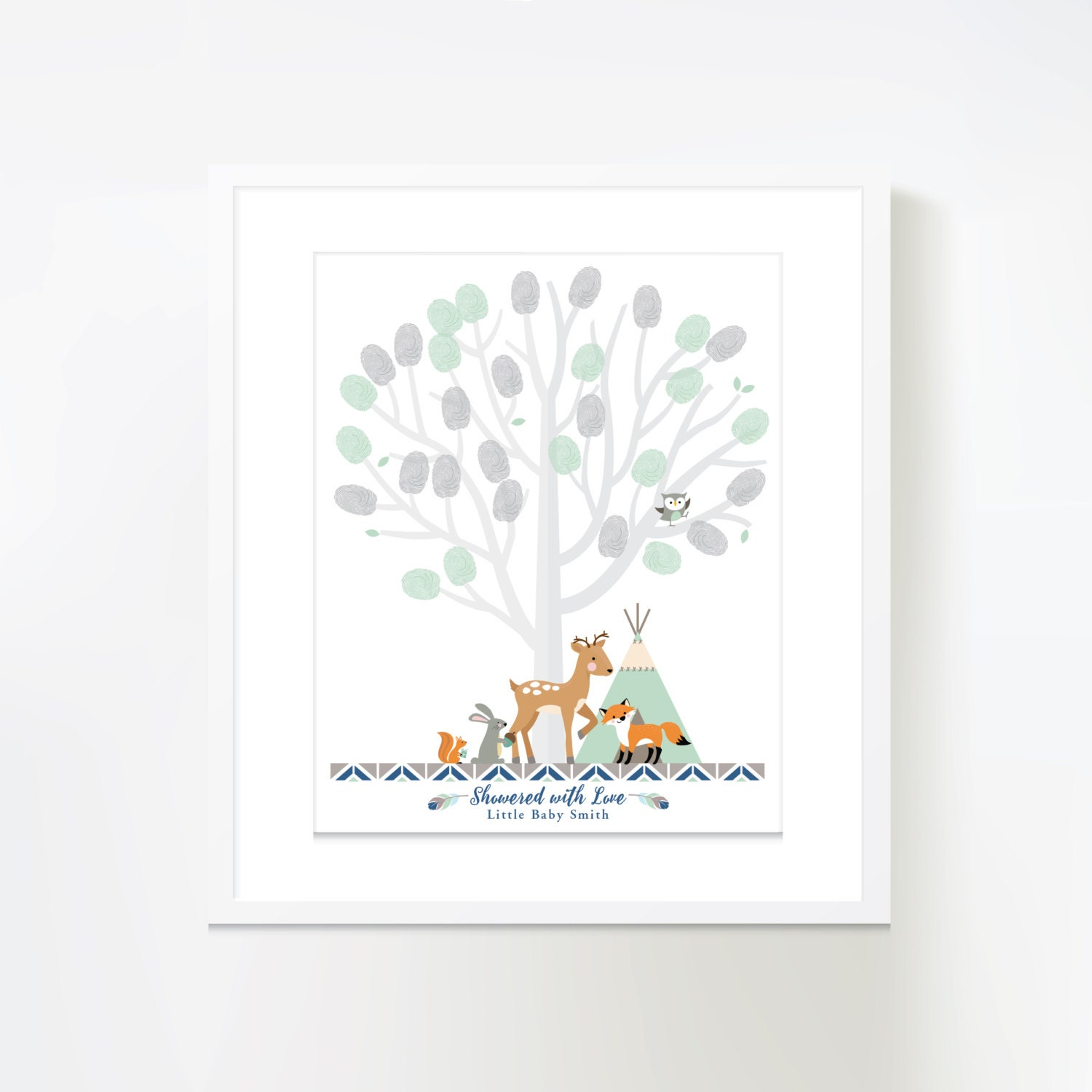 thumbprint tree guestbook woodland baby shower mint grey
