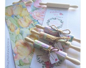 Floral rolling pin invitation- Bridal Shower - Kitchen Tea - Weddings