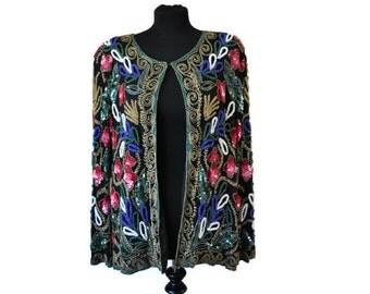Beaded Black Jacket // Vintage 1980's Silk Beaded Jacket // Large