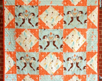 Mendocino Mermaids Patchwork quilt in Heather Ross cotton fabric for cot, lap or wall.
