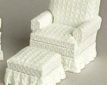 Dollhouse Miniature 1:12 Scale  WHITE AND Walnut Chair w/ Ottoman #T6665