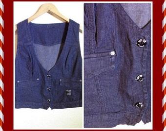 Womens Dark Blue Denim Vest Jens Waistcoat Medium Size