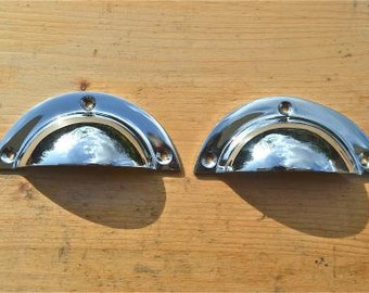 A pair of  Art Deco style chrome on brass cup handles WH67