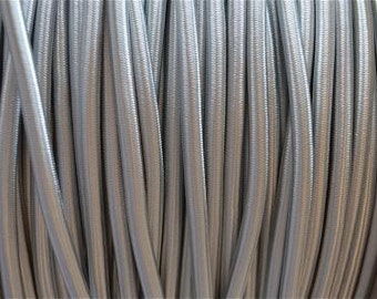 1 meter silver silk covered 3 core light flex wire B14