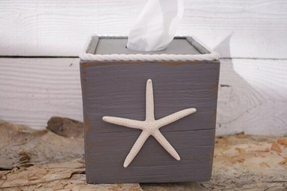 Gray tissue kleenex cube box cover nautical beach ocean - Beach themed tissue box cover ...