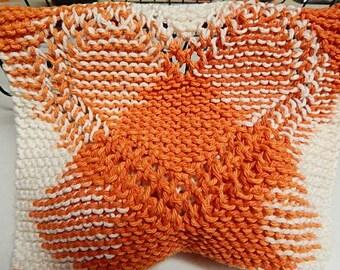 Orange Dishcloths, Cotton Dishcloths, Heart Dishcloths, Knit Dishcloths, Knitted Dishcloths, Hand Knit Dishcloths