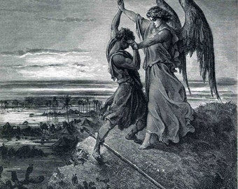 Gustave Dore: Jacob Wrestling with the Angel. Fine Art Print/Poster. (001830)