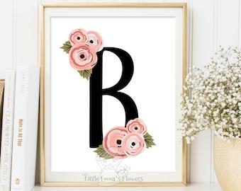 personalized art, new baby girl gift, artwork for nursery, nursery art monogram Initial prints, flower wall letter, baby room wall art,  77