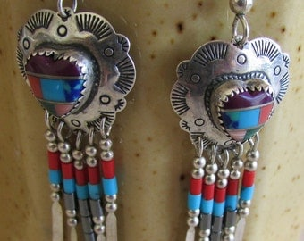Sterling Silver Multi Color Dangle Heart Earrings