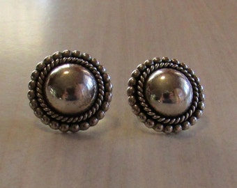 Sterling Silver Domed Post Earrings Stamped EC