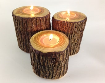 Osage Orange Tea Light Holders Natural Wood Rustic Table Center Piece