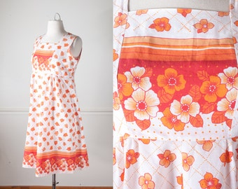 Mod 60s Shift Dress, Vintage 60s Dress, Floral Print Dress, Psychedelic Dress, Mini Dress, Boho Chic 70s Dress, Summer Dress, Orange Dress