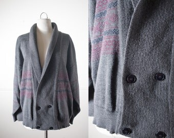 Boyfriend Cardigan, Gray Sweater, Oversized Sweater, 80s Sweater, Oversized Cardigan, Wool Sweater, Boyfriend Sweater, Menswear Clothing