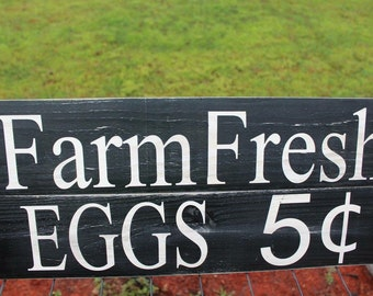 Wooden Farm Fresh Eggs sign