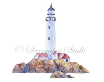 Watercolor Lighthouse Clipart, PNG Coastal Instant Download, Hand Painted Lighthouse Clip Art Watercolor PNG File