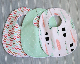 Baby Bib Set - Gold Metallic, Mint, Coral and White Gender Neutral Baby Bib Set - Set of 3 Minky Bibs - Boy or Girl Gold Feathers, Triangles