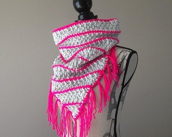 Fringe Scarf, Triangle Scarf, Crochet Fringe Scarf, Crochet Infinity Scarf, Ready To Ship