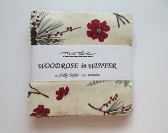 "Moda Charm Pack  - Woodrose in Winter - 5"" Charm Squares - 41 pc"