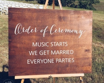 Wedding Ceremony Sign, Order of Ceremony, Rustic Wedding Sign, Wedding Sign, Married Sign