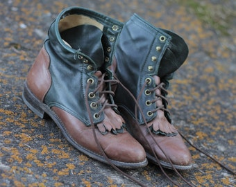 Vintage Two-Tone Paddock/Combat Boots Size 7