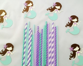 Purple and Teal paper straws, multipack of 25