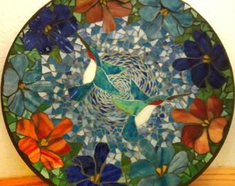 Hummingbird Stained glass mosaic