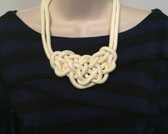 White Nautical Rope Sailor Knot Statement Necklace