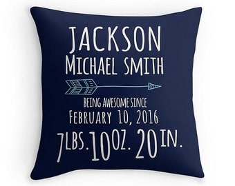 ON SALE Birth Announcement Pillow - Personalized Baby Pillow - Baby Gift - Boy Nursery Decor - Navy Blue