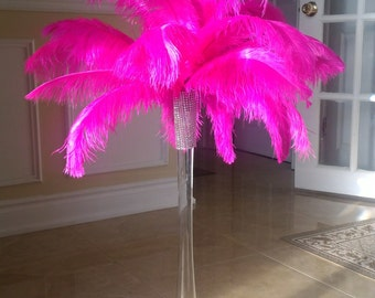 Hot Pink Ostrich Feather Centerpiece
