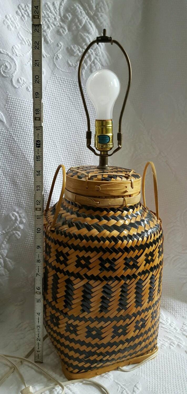 Woven Basket Lamp : Wicker lamp basket hand woven bamboo mid century