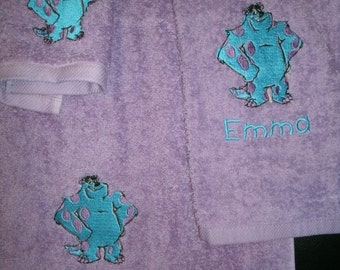 Monster Sulley Personalized 3 piece Bath towel, hand towel  Washcloth Set