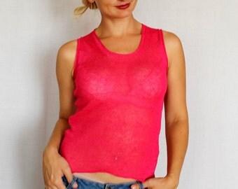 New summer linen top- women linen Linen pink blouse for woman,knitted linen top,linen tops,linen clothing,eco friendly, summer clothes