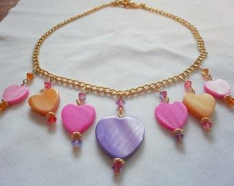 summery heart shell necklace w/Swarovski
