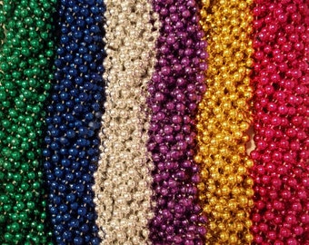"72 Mardi Gras Beads Necklaces Metallic Round Popular Assortment 7mm 33"" Strands Craft (6 Dozen)"