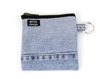 Denim Coin Purse of recycled jeans, Light Blue, 11 x 11 cm
