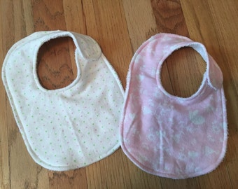 Pink Floral/Birds and Polka Dot Baby Girl Bib Gift Set, flannel & terrycloth, set of 2, extra absorbent