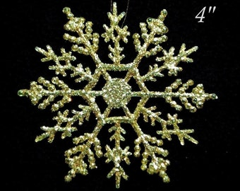 "10 Sparkling GOLD 4"" SNOWFLAKE ORNAMENTS - Christmas Glitz"