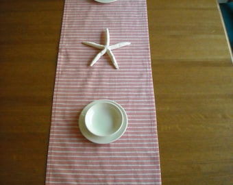 "Pink, White, & Green Striped  Table Runner, 15"" x 52"""