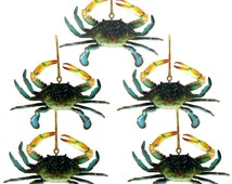 Set of Five (5) - 3D Coastal New Orleans/ Maryland Blue Crab Tiki Bar Decor Ornament with Gold ribbon Christmas crawfish/Seafood boil