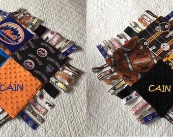 "STELLERS METS Combo Baby Sensory Ribbon Security Blanket Lovey with Tags 16""x16""  Football Baseball CUSTOM Team inspired"