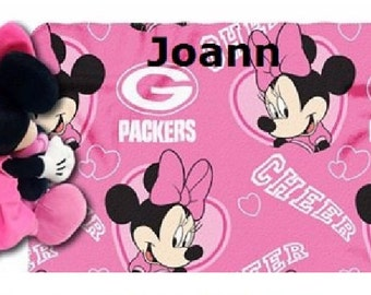 Football Green Bay PACKERS Cheerleader Fleece Throw Blanket & Mouse Hugger - Personalized