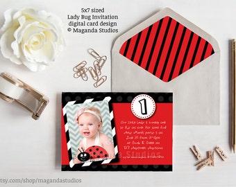 Lady Bug invitation - Birthday Party - Black and White Stripe